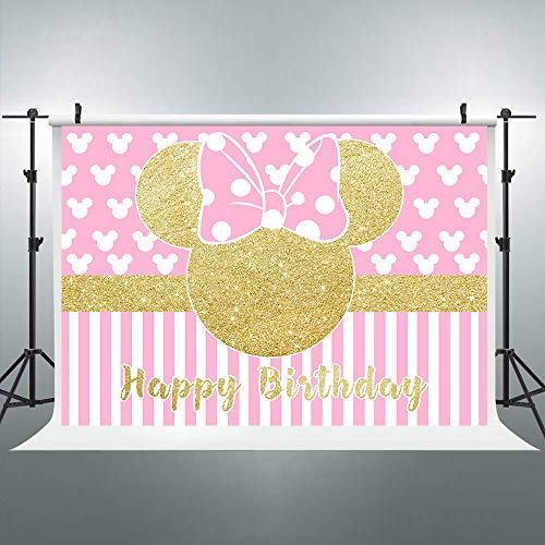 Riyidecor Cartoon Pink Mouse Backdrop Kids Happy Birthday Photography Background Gold Princess 7x5ft Decoration Background Photo Studio Celebration Party Prop Photoshoot Photo Booth Vinyl Cloth
