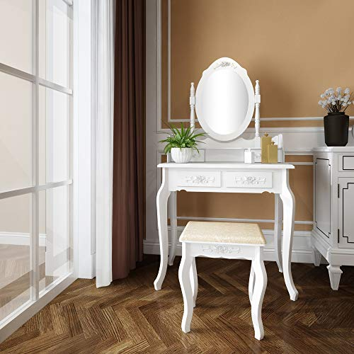 Goujxcy Vanity Set with Mirror and Stool, Makeup Table with 4 Drawers, Room Dresser Desk Vanity Oval Mirror and Padded Vanity Stool, Dressing Tables for Bedroom Vanities, White