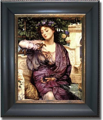 Artistic Home Gallery Libra and Her Sparrow by Sir Edward Poynter Premium Black Gold Framed Canvas Ready-to-Hang