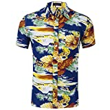 NUWFOR Men's Fashion Printed Blouse Casual Short Sleeve Slim Shirts Tops(Blue,US:XL Chest 48)