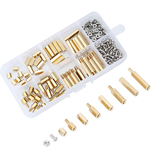 eBoot 180 Pieces Male Female Hex Brass Spacer Standoff Screw Nut Assortment Kit (M2.5) ()
