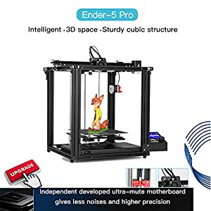 2019 Official Creality Ender 5 Pro 3D Printer Upgrade V1.15 Silent Mainboard with Metal Extruder Frame Use Capricorn Bowden PTFE Tubing 220 x 220 x 300mm Build Volume