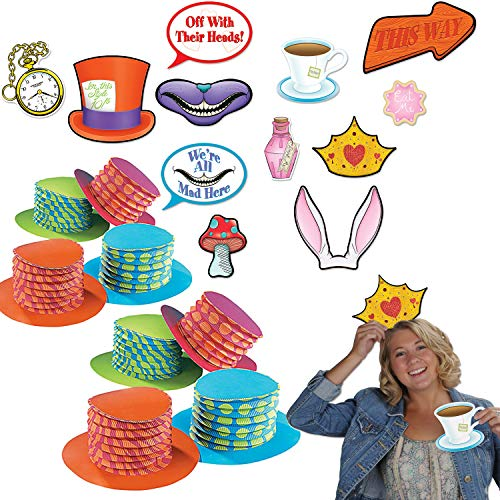Curated Nirvana Alice in Wonderland Party Prop Bundle | 12 Accordion Hats, 12 Double Sided Photo Props | Great for Tea Parties, Birthdays, Baby -