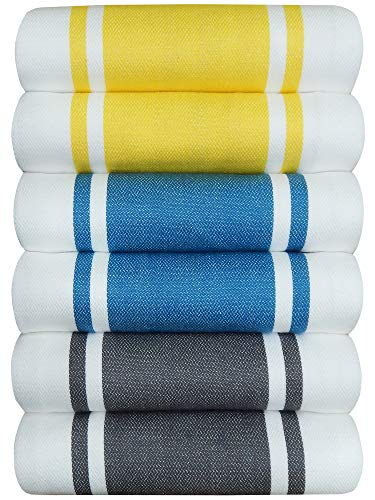 Tiny Break Dish Kitchen Towels Vintage Striped 100% Cotton Tea Towel 20 x 28 inch Set of 6, (Yellow-2, Teal-2, Grey-2)