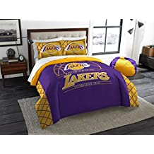 """Los Angeles Lakers - 3 Piece FULL / QUEEN SIZE Printed Comforter & Shams - Entire Set Includes: 1 Full / Queen Comforter (86"""" x 86"""") & 2 Pillow Shams - NBA Basketball Bedding Bedroom Accessories"""