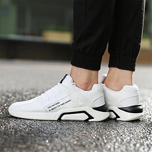 KuBua Herren Laufschuhe Indoor und Outdoor Sport Athletic Fitness Fashion Sneaker Casual Weiß Schwarz B Weiß