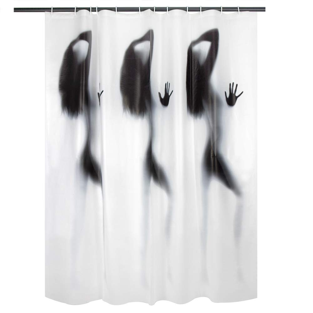 AFFLLA Spa Shower Curtain 72 Inch Beauty Girl Bath Curtains No Chemical Odor Cool Thick White PEVA Eco-Friendly with 12 Hooks Shower Cap
