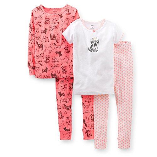 Carter's Girl's 4-Piece Snug Fit Cotton PJ Set (4T, Pink Dog)