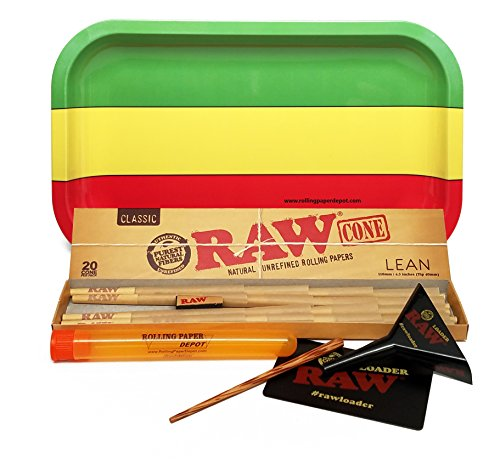 Bundle-4-Items-RAW-Cone-Lean-20-Pack-RAW-Lean-Loader-Cone-Filler-with-Rolling-Paper-Depot-Rolling-Tray-and-Doobtube