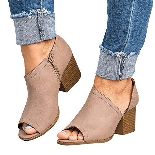 Gyouanime Sandals Boots Women Mid Heel Zipper Ankle Boots Shoes Peep Toe Sandals Lady Office Workout Boots Shoes Khaki ()