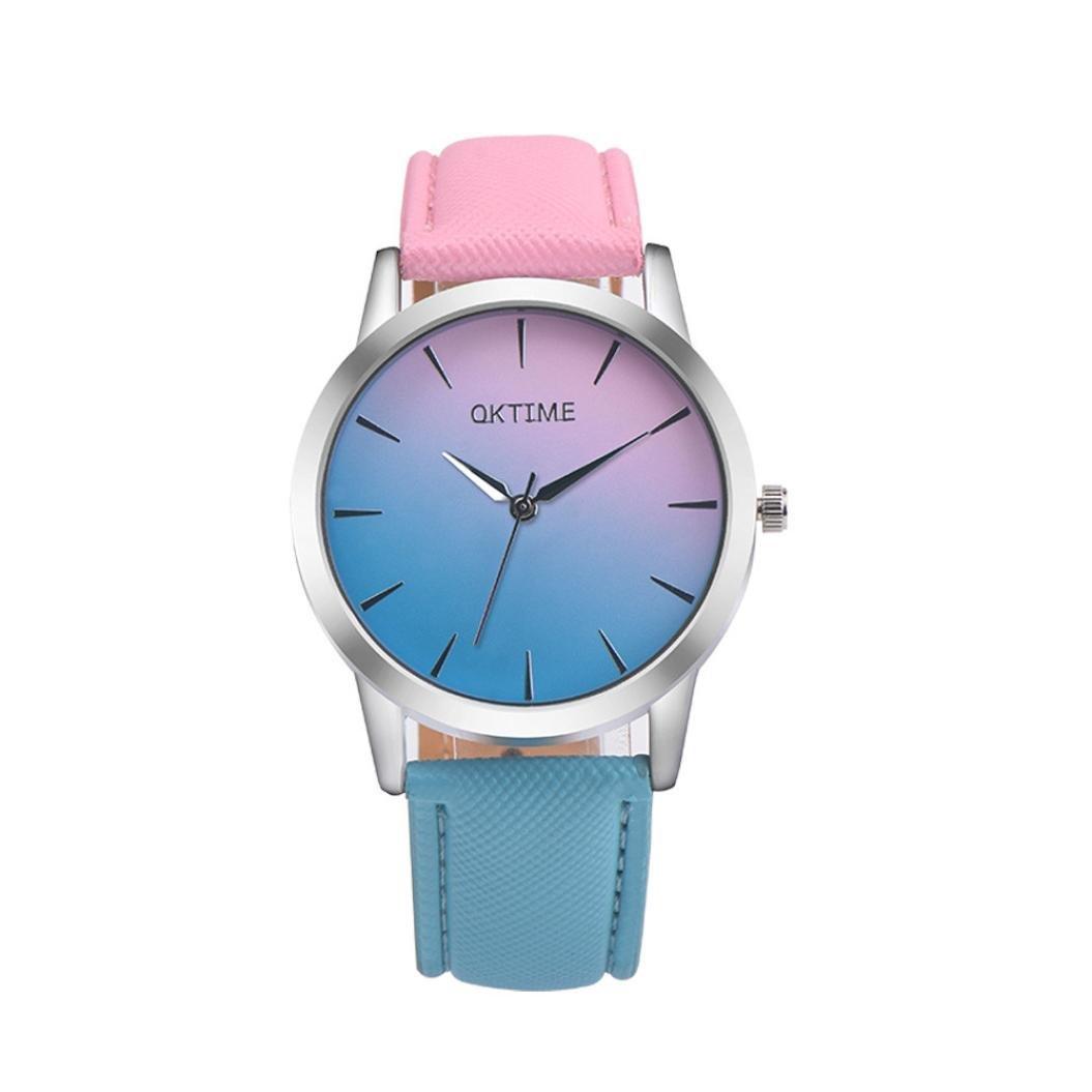 Relojes de pulsera mujer ❤ Amlaiworld Moda Relojes niña Reloj de pulsera de cuarzo analógico de aleación de cuero retro del diseño del arco iris de ...