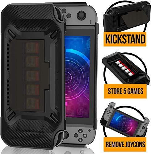RevoGuard Slim Heavy Duty Switch Case [Stores 5 Games] Compact Multi Angle Holder Play Stand for Nintendo Switch