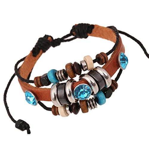 Shefine Mens Womens Leather Gemstone Wrap Bracelet Adjustable Drawstring (Stone Min Leather)