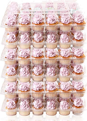 (6 Pack) Fill'nGo Carrier Holds 24 Standard Cupcakes - Ultra Sturdy Cupcake Boxes | Tall Dome Detachable Lid | Clear Plastic Disposable Containers | Storage Tray | Travel Holder | Also Regular Muffins
