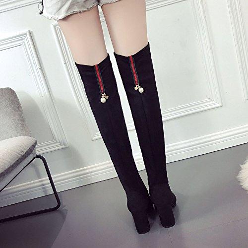 donna ginocchio con nero lunghe lunghe tacco spesso gambe il 38 stivali alto Dalle più velluto stivali selvaggio gambe sopra caldo tratto dalle di z1SHwqWcf