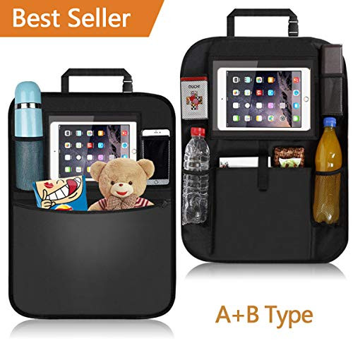 Multi Oxford - Car Back Seat Organizer, 2Pcs Oxford Waterproof Car Front Seat Protector, Multi-Pocket Car Hanging Storage Bag for iPad Tablet Bottle Drink Tissue Box Toys Vehicles Travel Accessories