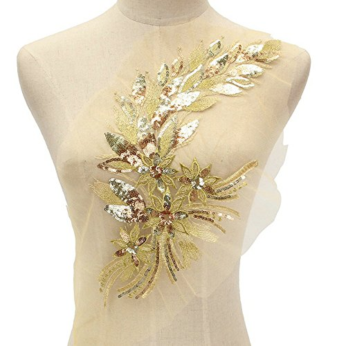 1Pcs DIY Lace Sequins Embroidered Patches For Clothes Peacock Applique Embroidery Wedding Dress Sewing Trim Garment Decor (Golden) Embroidered Sequin Applique