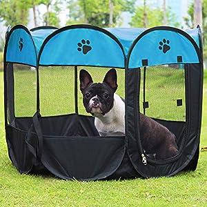 Coolty – Parque Plegable portátil para Mascotas, 8 Paneles para Perros, Gatos, Conejos y Animales pequeños, 91 x 91 x 58 cm
