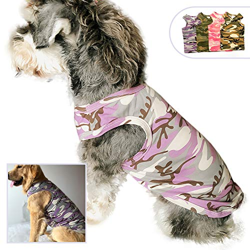 (Lovelonglong Pet Apparel Dog Clothes Camouflage T-Shirts Dog Tanks Top Vest for Small Middle Large Size Dogs 100% Cotton Pink Green Purple Dog Costumes Camouflage Clothing (L, Purple))