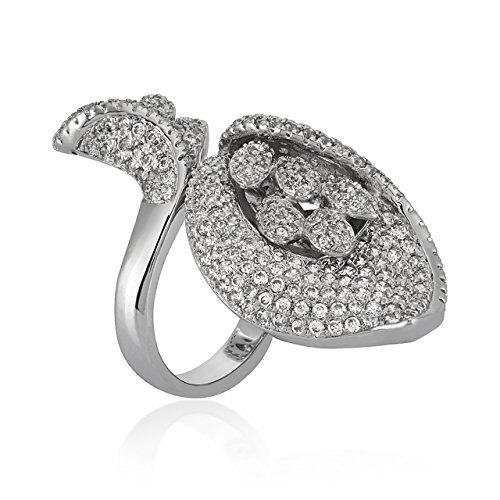Rhodium Plated Budding Flower Ring for Women|Gift for Her Birthday|Christmas Gift for Her by shaze