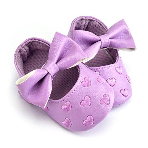 Tefamore Zapatos Zapatillas de deporte de los de Cuero del Bowknot Gráficos De Amor del niño del bebé De suaves antirresbaladizos Púrpura