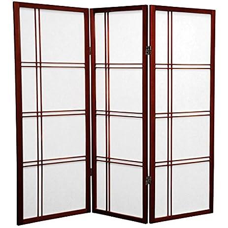 Oriental Furniture 4 Ft. Tall Double Cross Shoji Screen   Rosewood   3  Panels
