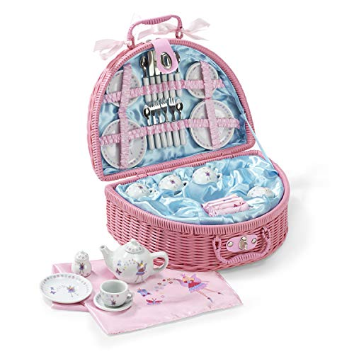Lucy Locket Fairy Tale Picnic Basket and Tea Set for Children (32 Piece China Tea Set) Pink (Childrens Tea Set Basket)