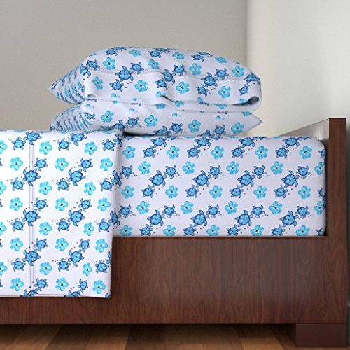 Roostery Honu 3pc Sheet Set Hibiscus And Honu Turtles by Macdonaldcreativestudios Twin Sheet Set made with by Roostery