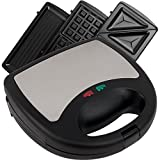 Panini Press, Grill, Waffle Maker- 3-in-1 Electric Cooking Appliance for Quick Meals, Burgers, Gourmet Sandwich with Nonstick Plates by Chef Buddy