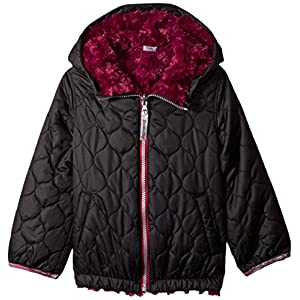 London Fog Little Girls' Reversible Quilted Jacket With Hood, Black, 6X