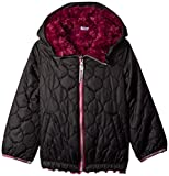 London Fog Big Girls' Reversible Quilted Jacket with Hood, Black, 10/12