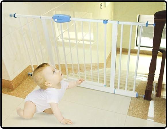 QIANDA Barrera Seguridad Niños Protector Escaleras Bebe A Presión Barrera Efectiva Fuerte Seguridad Puerta De Metal Instalación Fácil, Ancho hasta 224cm (Color : White, Size : 140-147cm): Amazon.es: Hogar