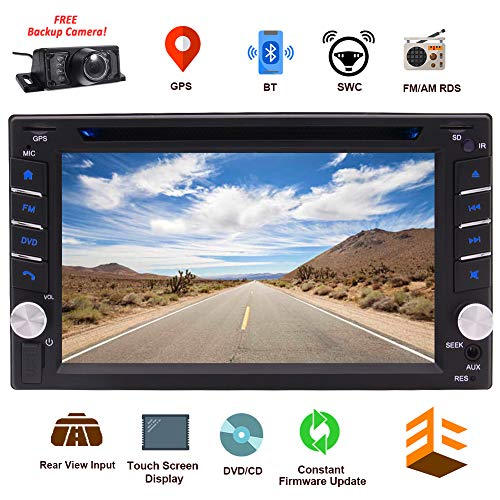 EINCAR Bluetooth Car CD DVD Player 6.2 Inch Capacitive Touch Screen in Dash GPS Navigation Double Din Car Stereo Head Unit Radio Receiver with Auto Audio Video Monitor System SD map + Backup Camera (Radio Car Touchscreen Gps With)
