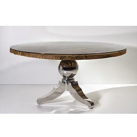 Tavolo Rotondo Vetro Acciaio.Tavolo Rotondo Frozen Pannello In Legno Con Vetro Coperto E Piedini