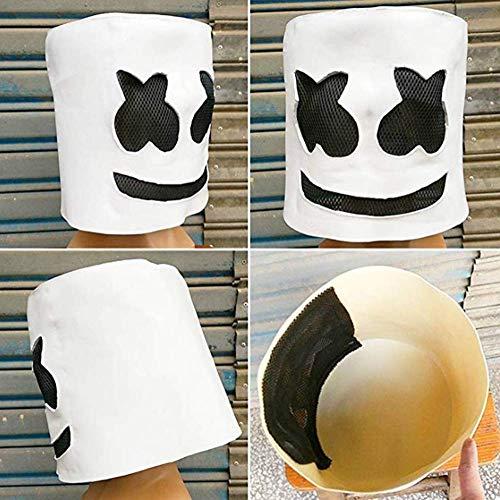koobea Fiesta de Halloween Night Club Latex Blanca Máscara para DJ Marshmello Máscara Traje Casco