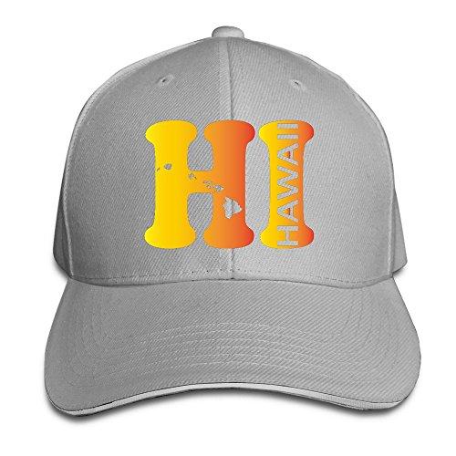 Hi Hawaii State Map Ash Adjustable Baseball Caps Unisex Sandwich Hats