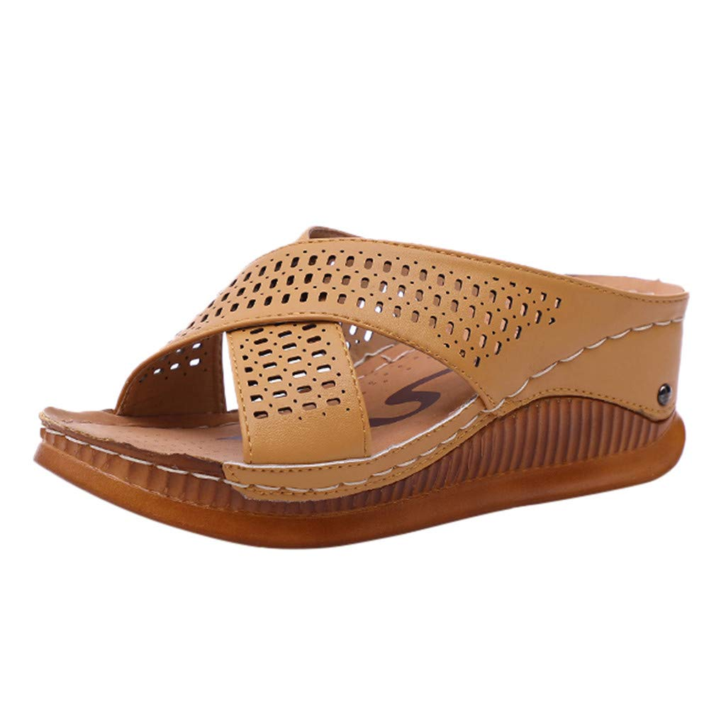 Xinantime Summer Wedge Breathable Slippers Women's Athletic Walking Shoes Casual Mesh-Comfortable Work Sneakers Brown by Xinantime