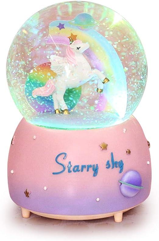 ANQIA Bola de Nieve Musical de Unicornio arcoíris, 100 mm, Globo de Agua de Resina con luz LED de Color Cambiado, Color Rosa: Amazon.es: Hogar