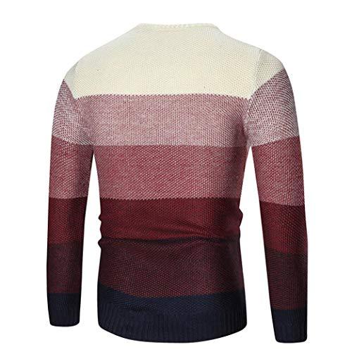Sweat Tricots Outwear Blouse Haut Jumper Mode Rond Rouge Tops Top Chemise Hommes D'épissage Pull Couleur Vêtements Col Grande Chic Adeshop Hiver Taille shirt Automne Slim FUvzzqxw