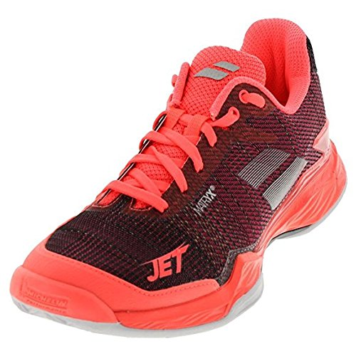 Babolat Women`s Jet Mach 2 Clay Tennis Shoes Fluo Pink and Silver-(31S18685-5017