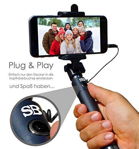 NEU★Selfie Butler®BLACK - Dein stylischer Selfie Stick im praktischen Handtaschen-Format. Selfie Stab mit komfortabler Kabelsteuerung. Kein Bluetooth, Batterien oder laden nötig → Top Qualität ohne Risiko jetzt bestellen für tolle Bilder