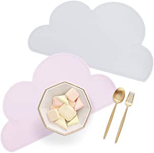 Kids Place Mats Silicone Cloud Shape Table Placemats Baby Feeding Plate, Set of 2