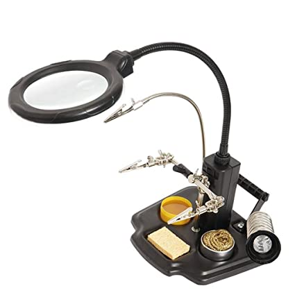 Gona Helping Hand Magnifier Stand - Soporte para Soldador Lente De Aumento De 2.5X,