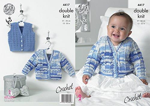 King Cole Baby Double Knit Crochet Pattern V Neck Cardigan & Waistcoat DK (4417)