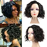 Cheap Human Hair Wig for Black Women 130% Density Unprocessed Curly Wig 12inch Body Wave Wavy Wig Brazilian Human Hair Wigs For Black Women 130g Short Human Hair Wigs 12inch Natural Color (Wig-12inch-Curly)