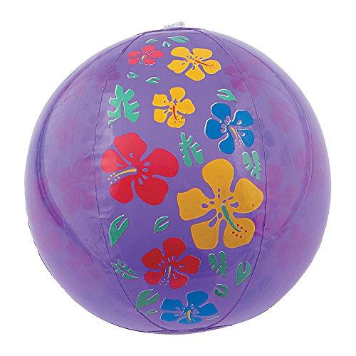 Fun Express Hibiscus Print Beach Balls Purp