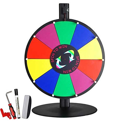 15 Inches Tabletop Color Dry Erase Counter Tabletop Colorful Spinning Prize Wheel 10 Slot for Holiday Activities Trade Shows Game Carnivals Casino
