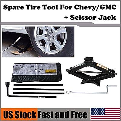 Spare Tire Tool Set Kit Replacement For Chevy Silverado 1500/GMC Sierra 1500 + Scissor Jack 2 Ton