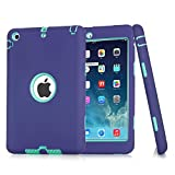 iPad Mini Case, Easytop 3in1 Hybrid Case Cover for iPad Mini 1 2 3 Hard Cover for iPad Mini Printed Design PC + Silicone Hybrid High Impact Defender Combo Hard Soft Case Cover (Purple + Mint)