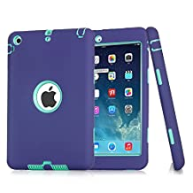 iPad Case ,TKOOFN [3 In 1] Full Border Protective Colors Combo Silicone Plastic Hybrid Shockproof Cases For Apple iPad Mini 1/2/3 ( Purple+Green)-B
